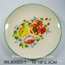 Flower and birds decal ceramic round plate
