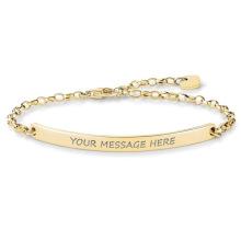 Wholesale Name Bar Gold Plated Bracelet, Custom Stainless Steel Engraved Bar Bracelet