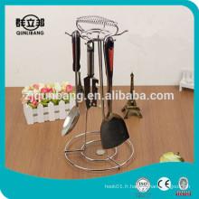 Couteau de cuisine en métal et porte-cuisinière / support