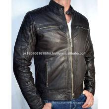 lastest fashion hot selling spring handsome mens leather jacket