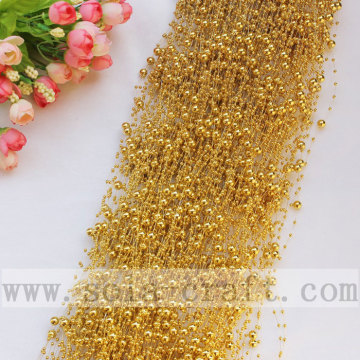 1.3M Electric Plating Gold Plastic Pearl Garland Chains for Wedding Tree Decoration