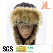 100% Polyester Taffeta & Artificial Fur Ushanka Winter Hat with Ear Flap