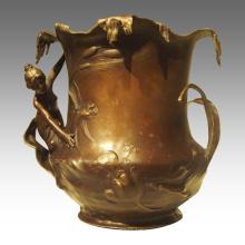 Vase Statue Lady Copper Ware Decoration Bronze Sculpture TPE-941