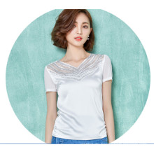 Arbeiten Sie Chiffon- Frauen-T-Shirt aus, das schön aushöhlt