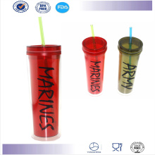 Wholesale High Quality Double Wall Starbucks Mug Plastic Straw Cup