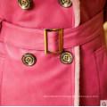 Розовый мода дамы овчины и ягненка кожи длинное пальто в стиле