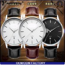 Yxl-445 neue Ankunfts-Mann-Uhr-Geschäfts-Art- und Weiseechtes Leder-Kalender-Datum Japan Movt Quarz-Armbanduhr