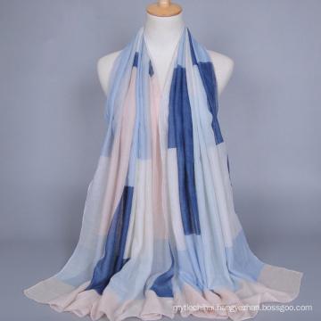 Spring hot sell muslim scarf geometric stripe printed cotton voile scarf women hijab