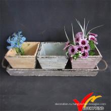 Красочный античный деревянный цветочный горшок с подносом для сада