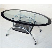 Venta por mayor moderna Oval vidrio templado mesa de café