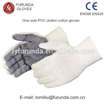PVC pontos luvas revestidas de algodão, 7 gauge luvas de malha de algodão branco natural