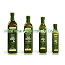 250ml 500ml 750ml Redondo / Cuadrado Aceite de Oliva Verde Oscuro Botella Aceite de Cocina Botella de Cristal