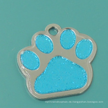 Hot Sale Metall Emaille Glitter Paw Pet Tag