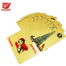Водоустойчивый роскошный 24k Золотой фольги покрытием игральные карты покер с деревянной коробке