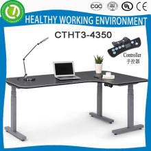 Высокое качество лучшие продажи L-образный регулируемая высота подъема металлический офисный стол