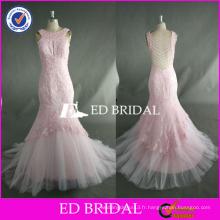 ED Bead Work Sans manches en dentelle Appliqued Chek Longueur Mermaid Pink Tulle Robe de bal