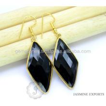 Дизайнер Позолоченная Золото Черный Оникс Драгоценных Камней Индийских Серебряные Ювелирные Изделия На Рождество