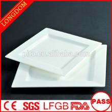 Prato quadrado de porcelana branca para restaurante, placa quadrada de cerâmica