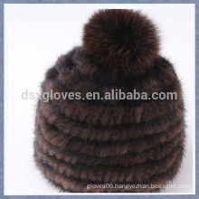 Coffee Mink Fur Cap With One Solid Spheres