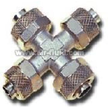 Union Cross  N.P Brass Rapid Push-over Tubing Fittings