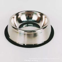 logo custom stainless steel pet dog feeder bowls with rubber ring