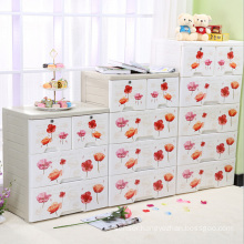 Fashion Flower Printing Plastic Drawer Storage Cabinet (FL-156-1)