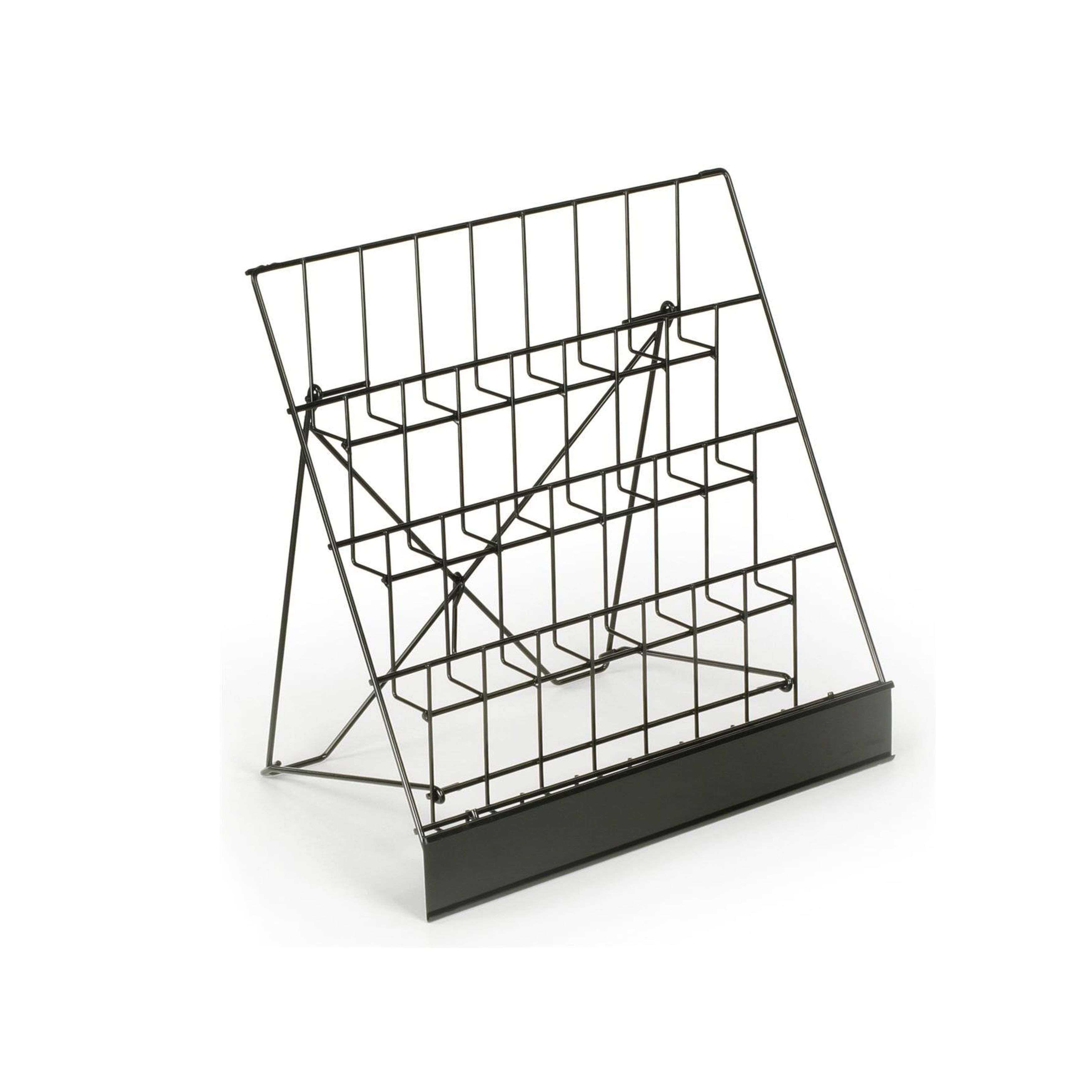 Black Wire Magazine Display Stand With Pockets
