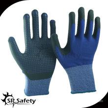 SRSAFETY 15G knitted nylon & spandex coated black high-technology foam nitrile gloves,black nitrile dots on palm