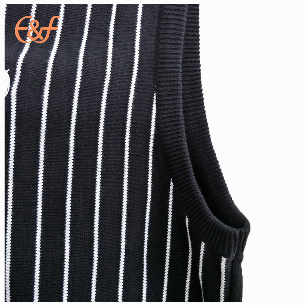 Stripe Pattern Vest Sweater
