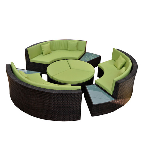 Curved sectional wicker sofa set