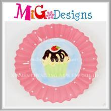 Cute Pink Ceramic Cake Design Plate