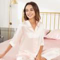 Luxury Long Pants Silk Pajamas V Neck 19Momme