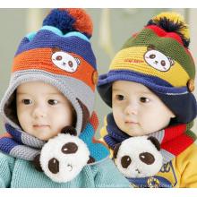 Male Boy Woolen Striped Panda Winter Hat with a Cute Ball