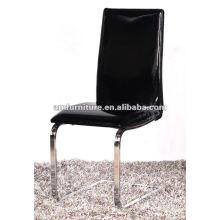 2012 cadeira de sala de jantar PU assento e costas com pernas cromadas