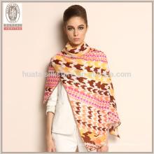 Bufanda hecha a mano por encargo 100% del invierno de las lanas de Houndstooth de la manera 2015