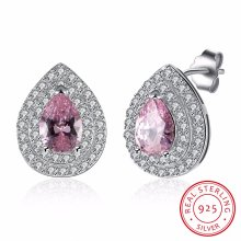 925 plata esterlina rosa gran taladro con forma de gota de circonio forma de perno prisionero pendiente