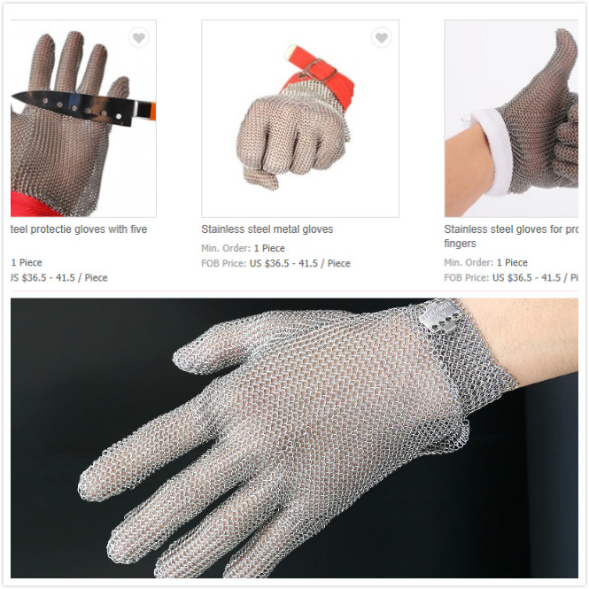 Stainless Steel Metal Gloves Easy To Clean Metal Claw Strap