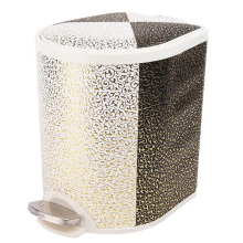 Leather Covered Plastic Foot Pedal Trash Bin