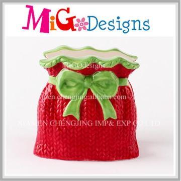Red Gift Box Ceramic Christmas Idea Napkin Holder