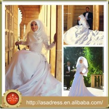 SMA59 Saudi Arabia High Collar Long Sleeve Taffeta Muslim Wedding Gowns with Hijab