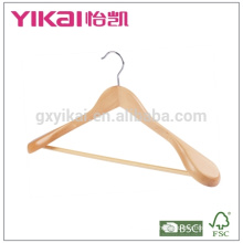 Eucalyptus wood coat hanger with round bar and wide shoulders