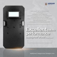 Ergonomic design handle LED lighting high performance light weight bullet proof riot shield sale