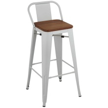 Metal Bar Frame Tolix Chair with Wood Seat