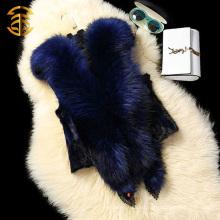 Lovely estilo 2015 capucha de piel de mapache grande hecho punto chaleco de cable chaleco de cuello de pieles que hace punto chaleco