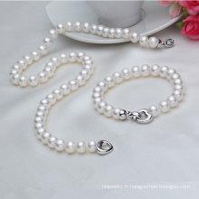 Ensemble et collier en perles d'eau douce réelle