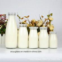 100мл, 250мл, 500мл, 1000мл Прозрачные круглые молочные стеклянные бутылки с пластиковой крышкой
