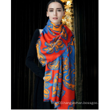 OEM Printed Silk Wool Scarf Lady Scarf