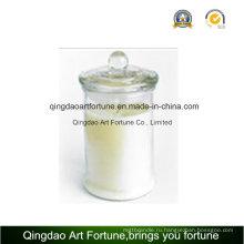Стеклянная свеча для подсвечника с плоской стеклянной крышкой