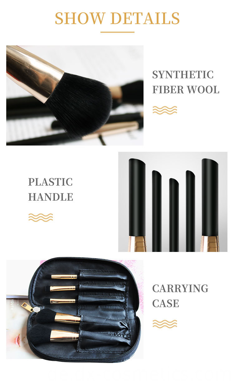 5 PIECE Essential travel makeup brush set 4