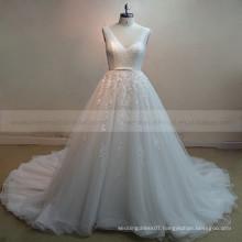 Stunning V-Neck Sleeveless Long Train Shinning Beads Lace Wedding Dresses With Long Train